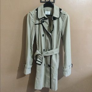 Ann Taylor LOFT Khaki Belted Trench Coat | Small